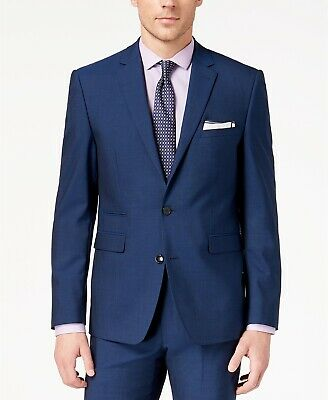 $495 Vince Camuto Slim-Fit Stretch Blue Solid Suit Jacket Mens 36S 36 NEW