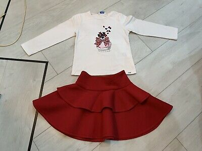 Girls Designer Mayoral Outfit Top & Skirt Age 3 Years Good Condition