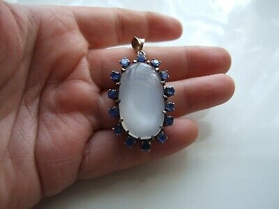 Large Antique Art Deco Natural Moonstone & Sapphires Silver & Gold Pendant