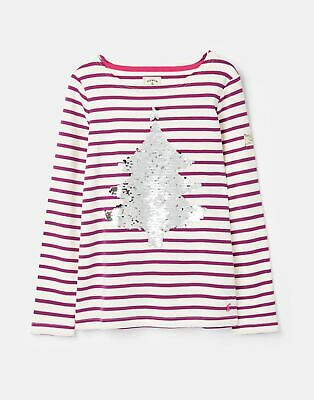 Joules 207153 Festive Harbour Luxe 3 12 Years in CREAM PURPLE STRIPE Size 4yr
