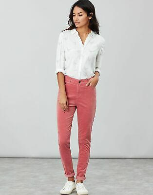 Joules Womens Monroe Cord High Rise Stretch Trousers in PINK Size 12