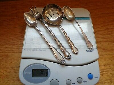 4 pc.Lot of STERLING SILVER 2 spoons ,1 sloted spoon ,pickle fork - 81 Grams .