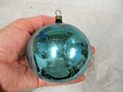 Large Antique Vtg 1900s German Feather Tree Mercury Glass Blue Ball Ornament