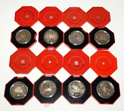8x 1993 - 2000 Singapore $10 Coins Lunar Year Series in Boxes (IMa)#72