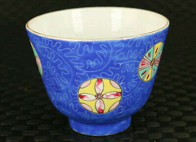 Chinese old antique porcelain handmade flower statue wine tea cup bowl deco