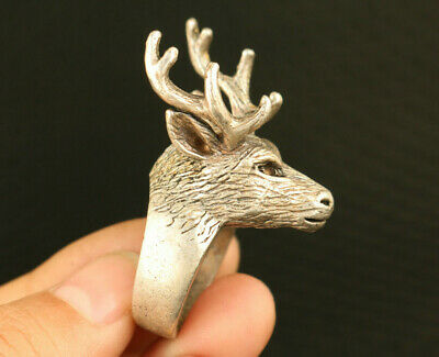 China old Tibet silver chinese hand carving sika deer statue ring decorate gift