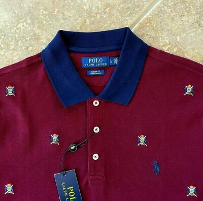 Polo Ralph Lauren Mesh Shirt Sz L Red w/Allover Polo Crests Classic Fit NWT $148