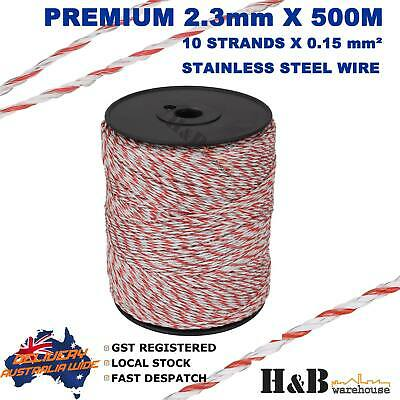 2.3mm X 500M Electric Fence Rope Wire Poly Polywire 10 Strands SS Polyrope