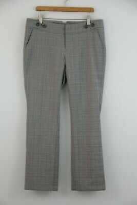 Banana Republic Stretch Plaid Check Ankle Skinny Lined Pants Gray Size 4