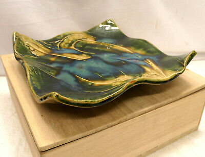 Pottery Serving Plate Dish ABSTRACT SIGNED Vintage Wood Box Japanese Unique #21