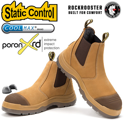 ROCKROOSTER Men's Work Boots Steel Toe Antistatic Wate Resistant Safety Shoes