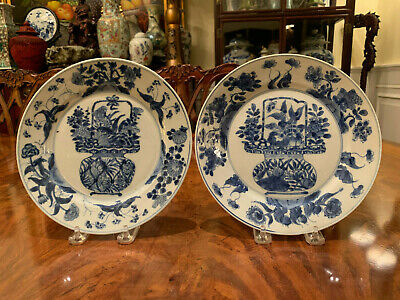 A Pair Chinese Qing Dynasty Blue & White Porcelain Plate, Marked.