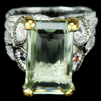 Real Green Amethyst & Multi Color Sapphire Sterling 925 Silver 2-Tone Ring 7.25