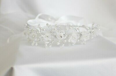 White Pearl Bow Wedding Bridal Flower Girl Veil Hair Comb Accessory DP