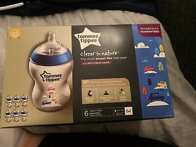 Tommee Tippee Closer to Nature 260 Ml Decorated Bottles - Pack of 6, Blue.