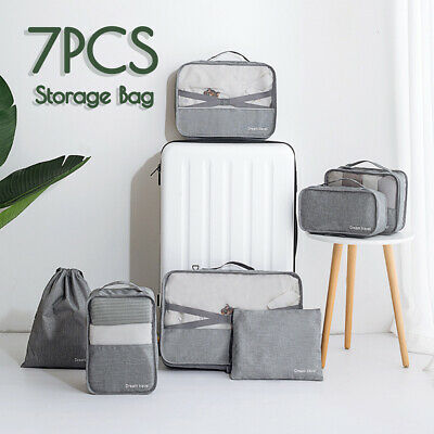 7Pcs Travel Organiser Pouches Storage Bag Packing Cubes Clothes Suitcase Luggage