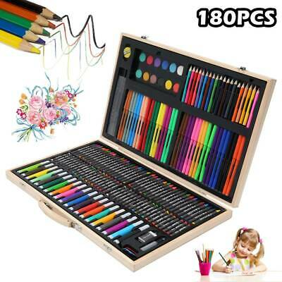 180pcs Drawing Art Set Artist Sketch Kit Colouring Pencil Sketching Wooden Case