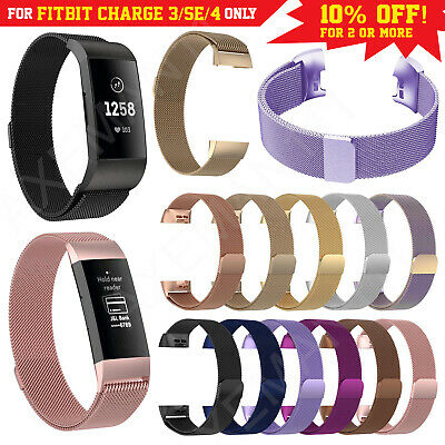 Fits Fitbit Charge 3 Band Metal Stainless Steel Milanese Loop Strap Wristband