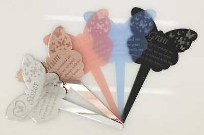 Memorial Butterfly stick - a Pretty grave side, cemetery decoration Family name