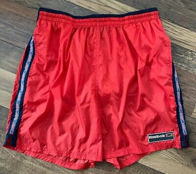 REEBOK Swimming Shorts Size Large RED | VINTAGE 90s Retro Athletic Dept Pocketed