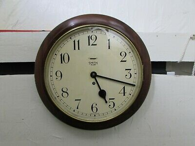 "Smith's Empire 12"" Dial Mahogany Wall Clock Schoolhouse, Railway, Station Type"