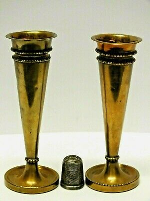 """Two Unusual Miniature Vintage Arts & Crafts """"Style"""" Brass Candlesticks"""