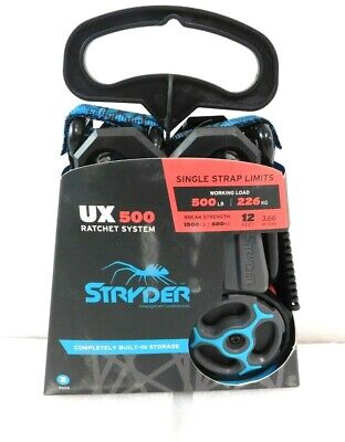 Pack of 2 1500 lb Break Strength Stryder RX500-02A Retractable Ratchet Tie Down Straps 500 lb Working Load Limit 12 x 1