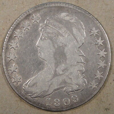 "1808 Bust Half Dollar 50c O-107 Low-Mid Grade Cleaned at some time ""Adams Apple"