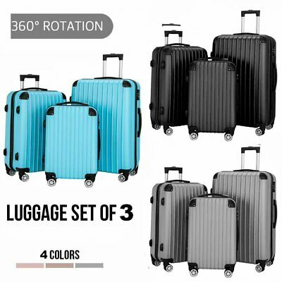 3PCS Luggage Set Travel Bag Carry On 360° Spinner Wheels Suitcase w/ Lock ABS