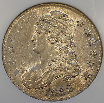 1832 Bust Half Dollar 50c NGC Certified AU58 More white + lustrous than my pictu