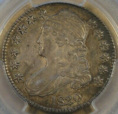 1830 Small 0 Capped Bust Half Dollar 50c O-106 PCGS Certified AU53