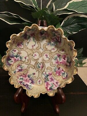 Lovely Nippon Purple Flowers With Heavy Gold Decoration Ruffled Top Bowl
