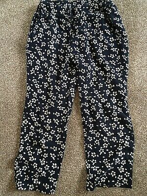 Yumi Girls 7-8 Years Navy White Floral Light Trousers Vgc