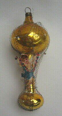 Antique German Wire Wrapped Balloon Xmas Ornament w/ Paper Scrap Angel