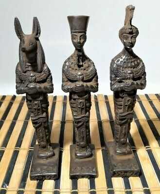 3 Rare Pharaonic statues of King Anubis, King Ramses and Queen Nefertiti