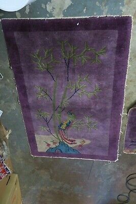 Antique Art Deco Chinese Rug 3'1 x 4'9 Hand Knotted Wool  Purple Bird Bamboo