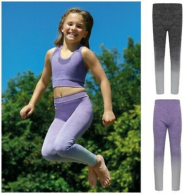 Girls Ombre Dance Sports Leggings Trousers Kid Child Fitness Training Running