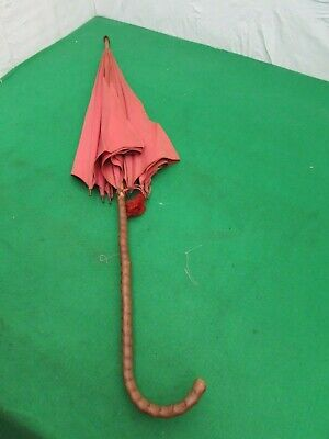 Antique Silk Parasol With Bent Crook Handle For Restoration/Re-Lining