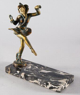 Art Deco Female Polychrome Painted Dancer Figurine Statue Marble Base 1920s Fine