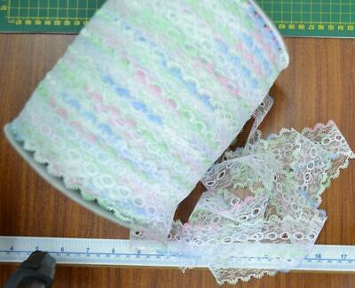 Iridescent Feather Edge Eyelet Lace, 37mm, MULTICOLOUR WHITE, Full 200m Roll