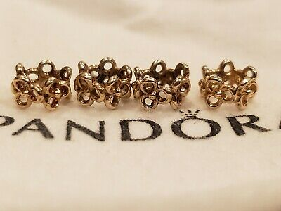 Authentic Pandora Solid 14k Trinity Flower Spacer Charm Bead - 585 ALE