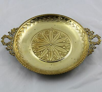 """Antique French Brass Card Plate on Ball Feet 9.5"""""""