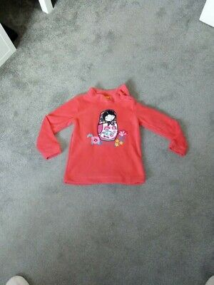 Girl's Marks and Spencer red fleece Russian doll top age 4-5 years