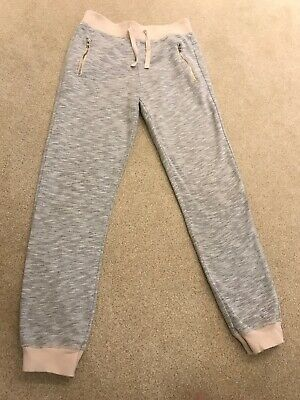 Girls Grey Jogging Bottoms With Peach Detail And Zipped Pockets Age 8 Years