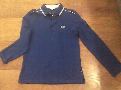 A Boys genuine Junior Hugo Boss Polo Top long sleeves age 10 years navy blue