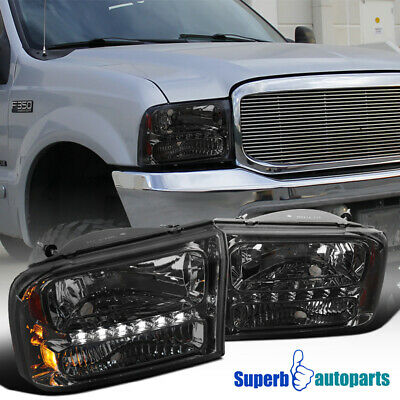 For 99-04 Ford F250 F350 2000-2004 Excursion 1PC Smoke LED DRL Headlights
