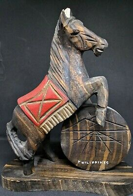 Vintage Hand Carved Wooden Horse Statue Made in Philippines, Carved Wood Horse.