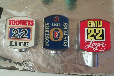 3 x Tap Beer Decal fittings tooheys fosters wan draught  and emu lager