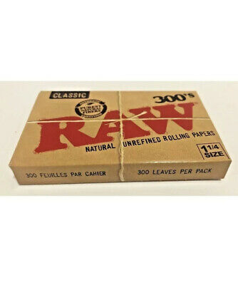 "Raw 300's Classic Authentic UnRefined Rolling Papers 1.25""  **Free Shipping **"