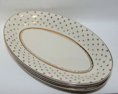 4 Antique John Maddock (English) oval plates gold edges fading a little on some